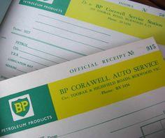 vintage ephemera - BP service station receipts. $3.00, via Etsy.