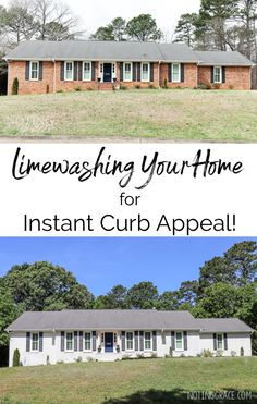 Do you hate the look of the exterior of your home? Today, I'm sharing how Limewashing your Home for instant curb appeal can create a home that you love featuring Romabio Paints Classico Limewash. White Wash Brick Exterior, Brick Exterior Makeover, Ranch Exterior, Grey Exterior, House Paint Exterior, Exterior Remodel, Modern Exterior, Exterior Design, Painted Brick Ranch