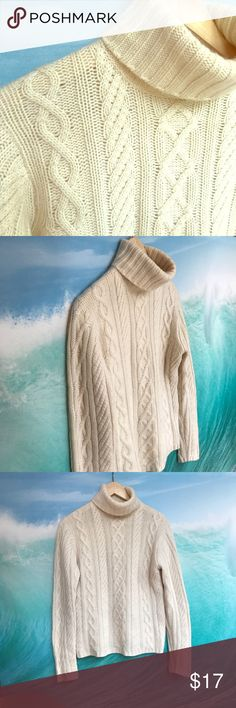 """Mariele Waithe cashmere cable knit turtleneck. S. Excellent condition cream colored cable knit 100% cashmere turtleneck sweater.  No stains or flaws.  Soft as can be!  Size Small but generous and stretchy.  Chest: 18"""" Shoulder: 16"""" Length: 24"""". mariele waithe Sweaters Cowl & Turtlenecks"""