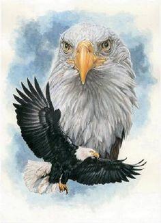 American EagLe In Flight Cross Stitch Pattern***L@@K*** by LONE WOLF CROSS-STITCH PATTERNS LOOK, $4.95 USD
