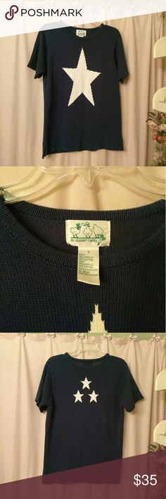 The Quaker Factory Star Knit Top Navy knit sweater top with large white star on the front and three little stars on the back, perfect for the summer, fourth of July or any patriotic event, reasonable offers considered, NO TRADES Quacker Factory Tops