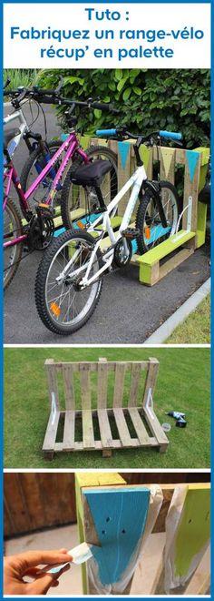 DIY: Fahrradträger in Palette herstellen Tuto – Upcycling – Selbst produzierender Paletten-Fahrradträger – DIY : fabriquer un range-vélo récup' en palette Source by Pallet Bike Racks, Pallet Shed, Bicycle Rack, Diy Pallet, Garage Velo, Recycling, Palette Diy, Diy Kit, Diy Makeup
