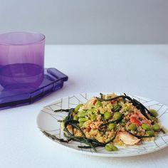 Broad bean, quinoa, honey-roasted salmon and samphire salad