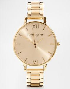 Bild 1 von Olivia Burton – Goldene Armbanduhr mit großem Zifferblatt