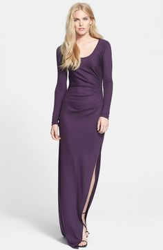 Diane Von Furstenberg Long Sleeve Ruched Gown | Dress, Frock and Clothing