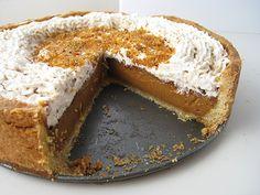 Aurora Tart (a caramel custard tart with chocolate glaze and praline cream