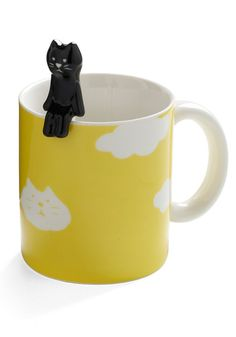 Height of the Morning Mug in Cat - Yellow, Dorm Decor