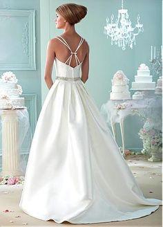 Buy discount Fabulous Satin V-neck Neckline A-line Wedding Dresses with Beadings & Rhinestones at Dressilyme.com