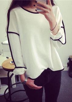Cheap hoodie fabric, Buy Quality sweatshirt galaxy directly from China sweatshirt polo Suppliers: 2016 New Spring Trends All-match Sweatshirt Geometry Design Loose And Long Sleeve Summer Sweatshirt Women 3 Colors Moletom Long Tops, Long Sleeve Tops, Long Sleeve Shirts, Casual, Fashion 2017, Fashion Women, Asian Fashion, Pull, Dame