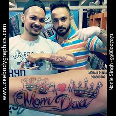 Nonie Singh, who had started his tattoo art in Melbourne and uses his creativity exclusively to your custom tattooing. Mom Dad Tattoo Designs, Mom Dad Tattoos, Simple Tattoos For Guys, Hand Tattoos For Women, Maa Paa Tattoo, Top Tattoos, Tattos, Latest Tattoo Design, Crown Tattoo Design