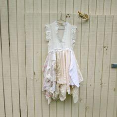 romantic dress / womans dress / Funky Eco Tattered Fairy Woodland Pixie Dress by CreoleSha