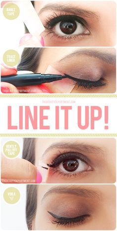 TOOLS: Scotch tape, liquid liner {I used this Stila liner on Carissa above}    STEP ONE: After already lining the lashline with your liquid liner, place the tape by lining it up from the outside corner of your eye towards the end of your brow. To be precise, imagine the brow extended by a centimeter and have that point become where you end the tape.