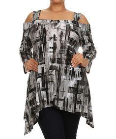 Loving this Gray & Black Abstract Three-Quarter Sleeve Tunic - Plus on #zulily! #zulilyfinds