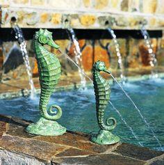 seahorse decorations | Bronze Seahorse Fountain Coastal Garden Decor Large