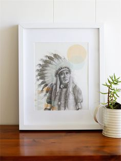 8 x 10 Art Print - Yellow  owl - Native American Indian design