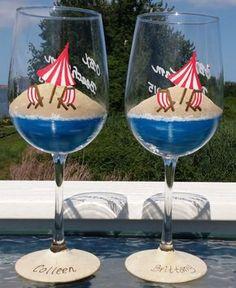 Beach scene hand painted wine glasses by GlassesbyJoAnne on Etsy Wine Glass Crafts, Wine Craft, Wine Bottle Crafts, Painted Wine Bottles, Hand Painted Wine Glasses, Wine Glass Designs, Diy Wine Glasses, Beach Scenes, Glass Art