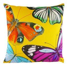 Evans Lichfield Flutterby Cushion, Gold