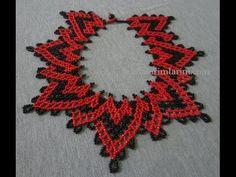 Authentic Necklace Models - Diy World Beaded Jewelry Designs, Seed Bead Jewelry, Necklace Designs, Seed Beads, Beading Patterns Free, Beading Tutorials, Free Pattern, Beaded Choker Necklace, Necklace Tutorial