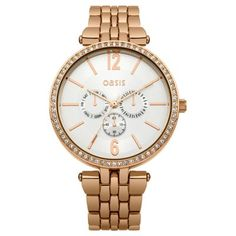 Oasis - Ladies PVD Rose Plated Stone Set Bezel Watch - B1513 - Online Price: £50.00