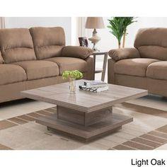 Furniture of America Wakiaka Unique Pagoda Coffee Table (Light Oak), Brown