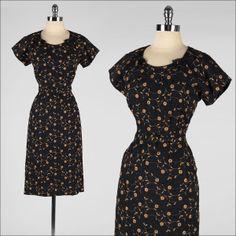 vintage 1950s dress . black rayon . by millstreetvintage on Etsy, $76.00