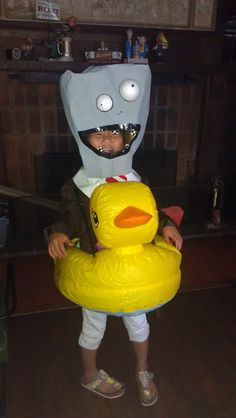 NJ's full Plant vs Zombies costume - the rubber duck is a baby-bath, with the bottom cut out