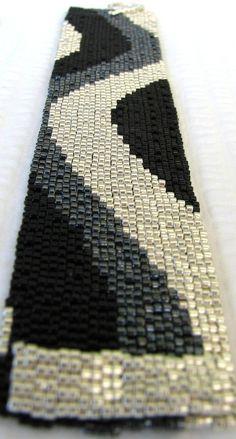 Achromatic Color Ribbon Peyote Cuff Bracelet 2264