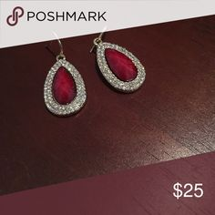 rue - la - la earrings - never been worn! never been worn! ruby red and (fake) diamond earrings! perfect for formal wear or any night out Jewelry Earrings