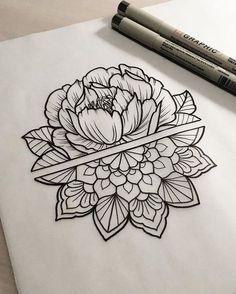 Mandala peony tattoo