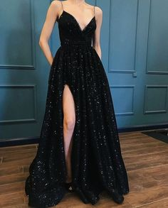 Fashion luxury black sequins lace prom dress special occasions dresses from Show By Style Mode Luxus schwarz Pailletten Spitze Abendkleid besondere Anlässe Kleider Cheap Prom Dresses, Prom Party Dresses, Black Prom Dresses, Dresses Dresses, Homecoming Dresses Long, Long Formal Dresses, Wedding Dresses, Prom Long, Summer Dresses