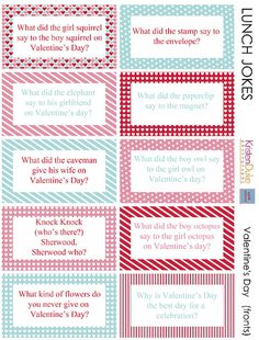 Valentine Lunch Box Jokes [Valentine Printables]