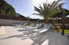 Au bord de la piscine, à l'ombre du palmier, par une chaude journée d'été.. #summer #luxuryrental #sunbed #Manutti #pool #private