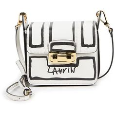 Lanvin Jiji Mini Contour-Print Leather Shoulder Bag ($2,050) ❤ liked on Polyvore featuring bags, handbags, shoulder bags, apparel & accessories, white, leather crossbody, mini crossbody, white leather purse, leather crossbody purses and crossbody shoulder bags