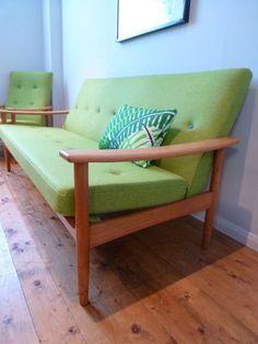 60's Guy Rogers Mid Century Sofa Couch Retro Vintage Teak Elm Re-Upholstered