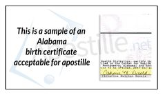 This Is A Sample Of An Alabama Birth Certificate Non Acceptable