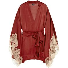 Carine Gilson Thème Céres silk-satin kimono ($955) ❤ liked on Polyvore featuring intimates, robes, lingerie, tops, underwear, dresses, women, silk satin robe, long sleeve lingerie and lingerie robe