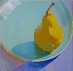yellow, fruit, sunlight, food, color, bold, lively, kitchen, vibrant.painting by Karen