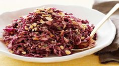 Asian Red Cabbage Slaw with Peanuts Recipe : Food Network Kitchen : Food Network Peanut Recipes, Slaw Recipes, Cabbage Recipes, Coctails Recipes, Cabbage Slaw, Red Cabbage, Healthy Summer Recipes, Vegetarian Recipes, Summer Desserts
