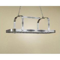 Hi-Lite Monterey Rectangular Hanging Pot Rack Accent Finish: None, Base Finish: Metallic Copper
