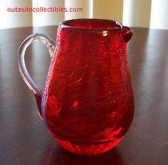Hand blown crackle glass pitcher