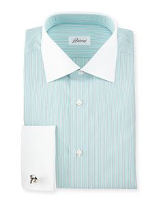 """Contrast-Collar Striped French-Cuff Dress Shirt, Green/White, Women's, Size: 15.5"""", Assorted - Brioni"""