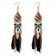 These black feather dangle earrings are definitely some showstoppers. The bohemian inspired earrings go perfect with a casual look or for your all-out glam. Pearl Shop, Black Feathers, Shape Patterns, Statement Jewelry, Types Of Metal, Dangle Earrings, Dangles, Boho, Fashion Jewelry