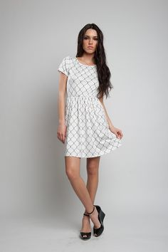 Mini dress with WIRE FENCE print Short Sleeve Dresses, Dresses With Sleeves, Wire Fence, Spring Summer 2016, White Dress, Woman, Mini, Collection, Fashion
