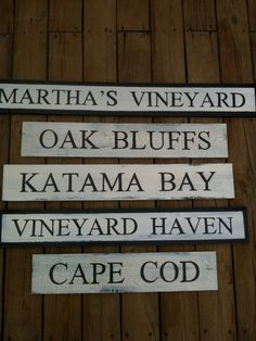 Woodworking Sign hand painted cape cod antiqued beach shabby chic weathered black white rustic primitive cottage antique Martha's Vineyard Katama Bay Vineyard Haven