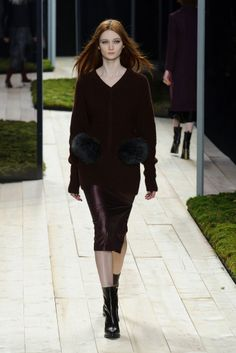 Layer Up With Maiyet Fall 2014: Kristy Caylor, designer of ethical fashion line Maiyet, explored a number of prints and embellishments for Fall 2014, among them dotted punch card patterns, diamond motifs and even strips of decorative bells that jingled down the runway on evening dresses.