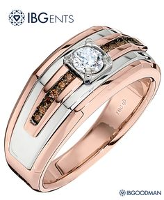 Stunning white and rose gold gents solitaire ring, also available with IBG-exclusive Bourbon Diamonds.