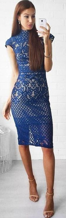 #fall #work #outfits | Blue Lace Lover 'Libra' Dress