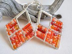 Orange beaded earrings orange wire jewelryorange by TaniHandmade