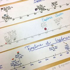 Sentence strips have so many good classroom uses that go beyond simply practicing handwriting and beginning sentences. I use sentence strips in my classroom to create timelines. The paper Se… 4th Grade Social Studies, Social Studies Activities, Teaching Social Studies, Teaching History, History Activities, Classroom Timeline, Classroom Freebies, Classroom Ideas, Explorers Unit