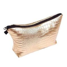 GOLDEN GLAM MAKUP BAG-AQUALUZZA - bright and shiny makeup bag, perfect holiday, new years or night out makeup bag.